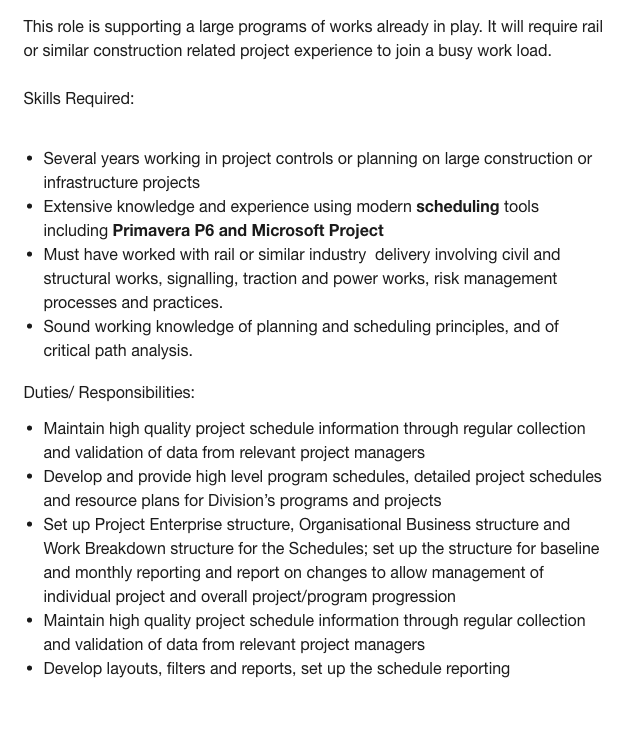 example job description for a project manager